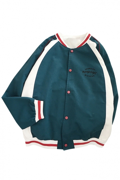 Trendy Color Block Long Sleeves Button-Down Letter Pattern Loose Baseball Jacket