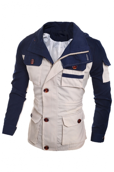 Trendy Color Block Long Sleeves Zippered Single-Breasted Hooded Utility Jacket with Buttons & Pockets