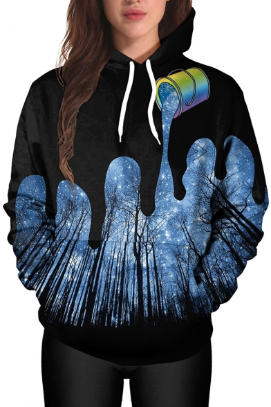 Trendy Paint Pour Forest Night Starry Sky Galaxy Pattern Long Sleeves Pullover Hoodie