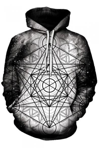 Trendy Stars Kaleidoscope Geometric Pattern Long Sleeves Pullover Hoodie with Pocket