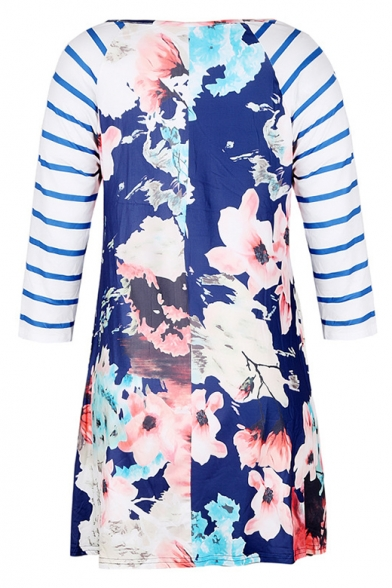 Trendy Striped 3/4 Sleeves Floral Pattern T-shirt Mini Dress with Pockets