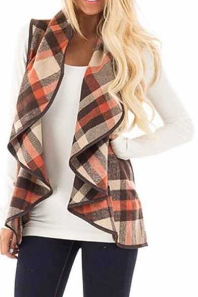 Women's Waterfall Front Vest Plaid Sleeveless Open WwBrwqzApY