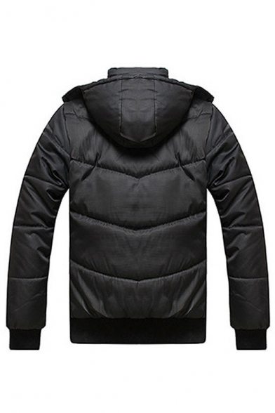 Chic Long Sleeve Zip Up Hooded Warm Padded Coat