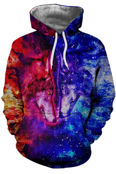 Wolf Chic Pocket for Couple Print Color Block Hoodie Wolf Sleeve Long SHaAqPH