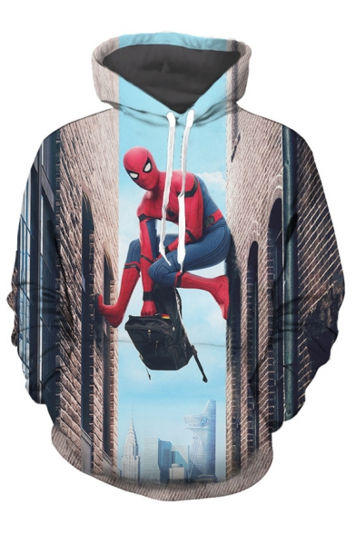 Sleeves Pocket Climbing with Hoodie Character Superhero Building Movie Long Pullover Printed Cool 0PqCw