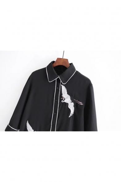 Long Embroidery Button Pattern Shirt Crane Sleeve Down Lapel ZEwEgqrP