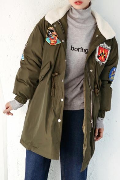 Fashion Print Long Sleeve Zipper Tunic Warm Coat with Pocket