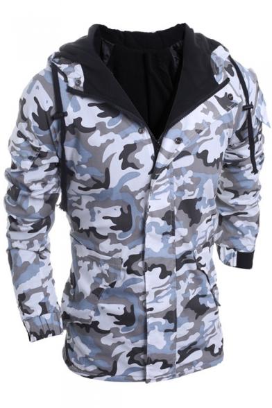 Hood Up Coat Sleeve Drawstring Camouflage Long Zipper Fashionable qSIv1v