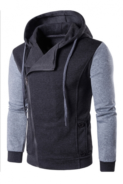 Color with Zip up Long Sports Hoodie Block Fashionable Casual Sleeves Pockets Pqzxdw