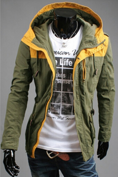 Fashionable Color Block Long Sleeves Hooded Zippered Utility Jacket with Pockets