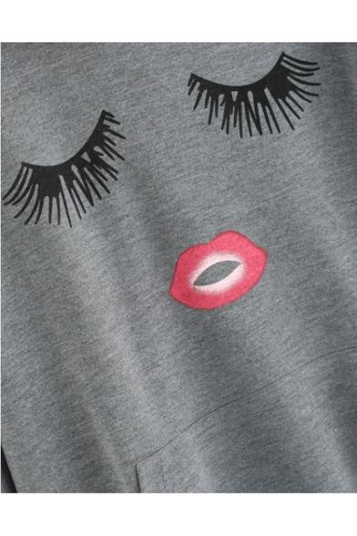 with Printed Loose Eyes Fashionable Casual Long Sleeves Pullover Pocket Hoodie Lip U46xaSzwq