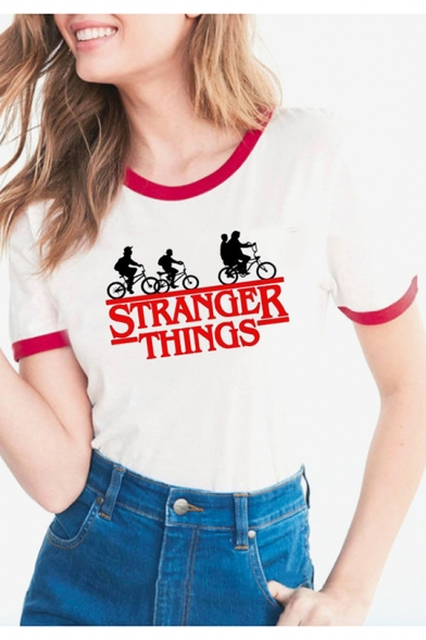 Contrast Funny Round Tee Short Biker Pattern Casual Sleeves Neck Letter Trimmed Cartoon arqYa