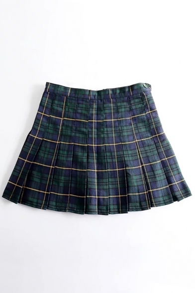 Girly Tartan Plaids Pattern Pleated Hem Mini Skirt with Button