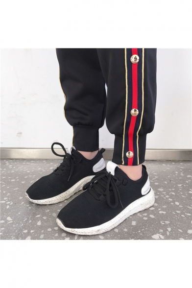 Leisure Striped Side Pattern Elastic Waist Pull-on Track Pants Joggers Embellished with Buttons
