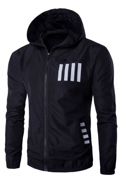 New Arrival Stripes Print Long Sleeves Zip Up Hooded Sports Coat
