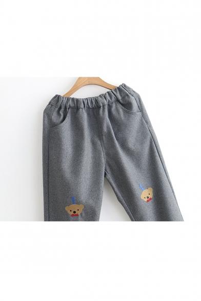 New Stylish Cartoon Bear Embroidered Elastic Waist Pants