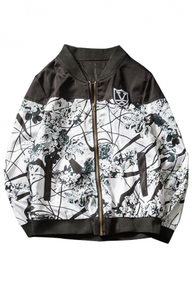New Stylish Ink Painting Print Zippered Long Sleeve Jacket with Pockets