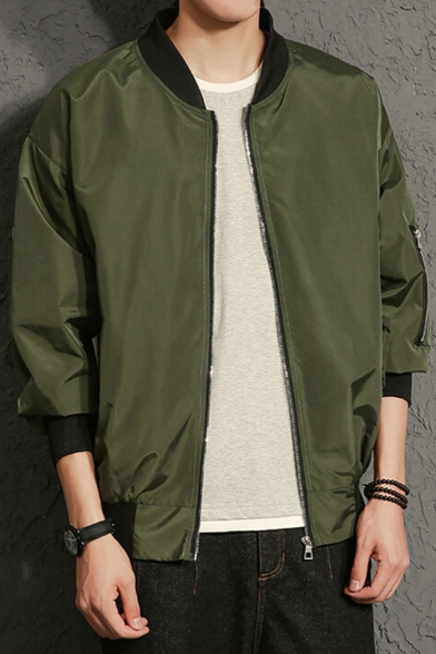 New Trendy Letter & Sickle Print Back Zip Up Front Long Sleeve Baseball Jacket