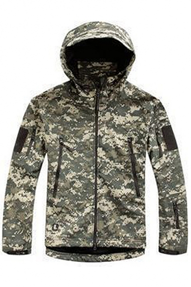 Outdoor Camouflage Long Sleeve Zipper Placket Hooded Coat with Pockets