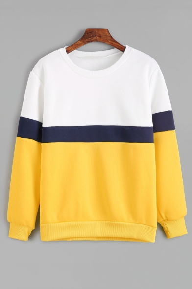 Sleeves Color Sweatshirt Neck Popular Long Block Round Pullover npgqgXzwax