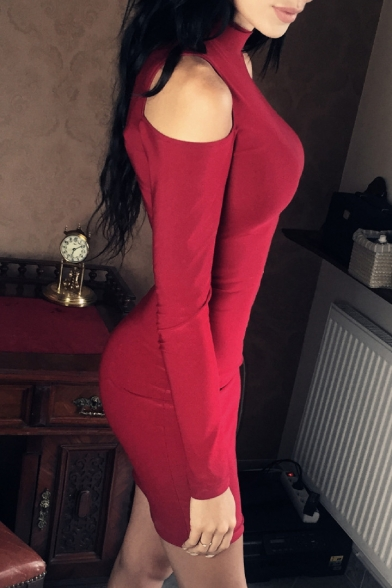 Sexy High Neck Long Sleeves Cold Shoulder Bodycon Pencil Mini Dress