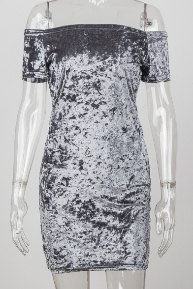 Sexy Off the Shoulder Short Sleeves Slim-fit Bodycon Mini Dress