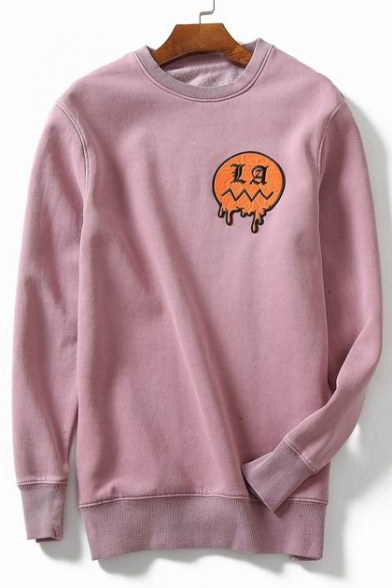 Cartoon Pullover Applique Round Simple Sleeves Neck Sweatshirt Long d7xwq