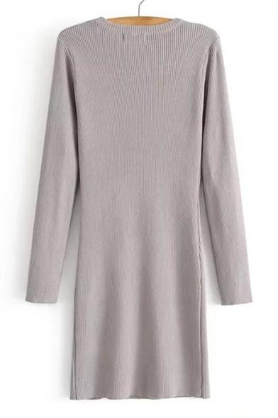 Simple Cutout Detail Round Neck Long Sleeves Split Hem Bodycon Mini Sweater Dress
