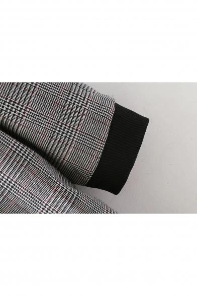 Simple Plaid Pattern Zip Placket Long Sleeve Shift Mini Dress
