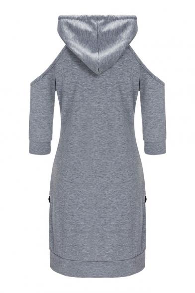 Simple Plain Cold Shoulder Half Sleeve Hoodie Mini Dress