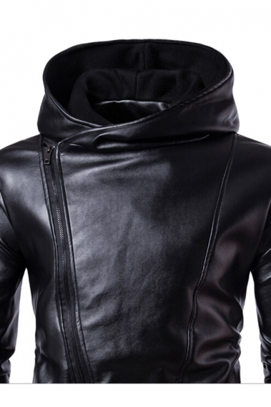 Long Zip Plain Leather Up Hooded Side Sleeve Simple Jacket Faux 5qpxt7Hq