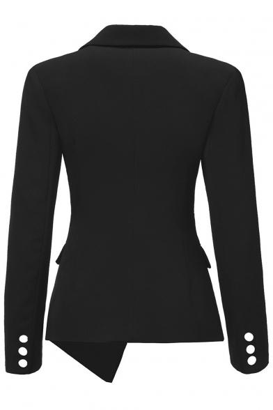 Simple Plain Notch Lapel Long Sleeve Buttons Down Blazer