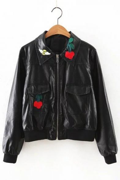 Sweet Cool Point Collar Long Sleeves Cherries Embroidery Biker Zip-up Jacket with Pockets