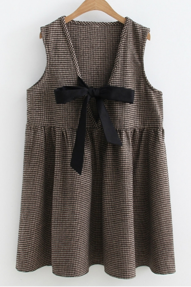 Trendy Gingham Plaids Pattern Bow Plunge Neck Mini Tank Smock Dress