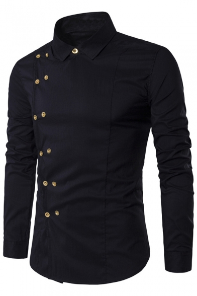 Shirt Long Trendy Lapel Sleeve Plain Breasted Double xAYSwtqAr