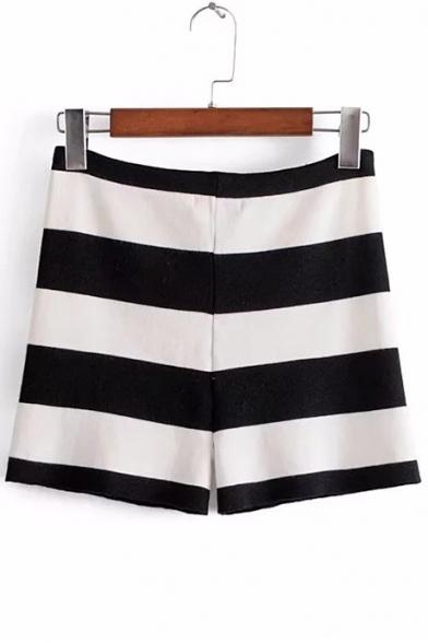 Trendy Striped Pattern Drawstring Waist Slim-Fit Hot Pants