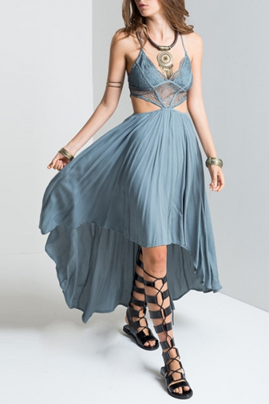 V High Neck Sexy Dress Bohemian Hem Out Low Hollow Style wAqqCaF