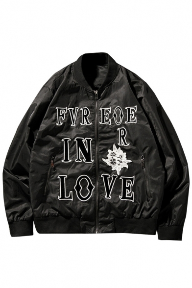 Sleeve Stand Cartoon Jacket Up Long Print Letter Embroidery Collar Chic Floral wqYRR7