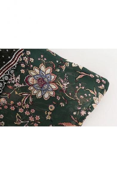 Chic Floral Ruffle Hem Round Neck Long Sleeve Shift Maxi Dress