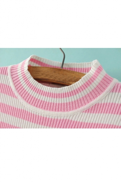 Classic Sweater Long Striped Letter Sleeve Cropped Pullover Pattern 6Z68qwr
