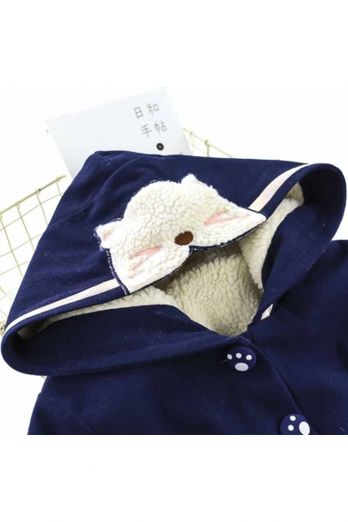 Cute Cats Cartoon Pockets Button Down Striped Hooded Embroidered Striped Coat
