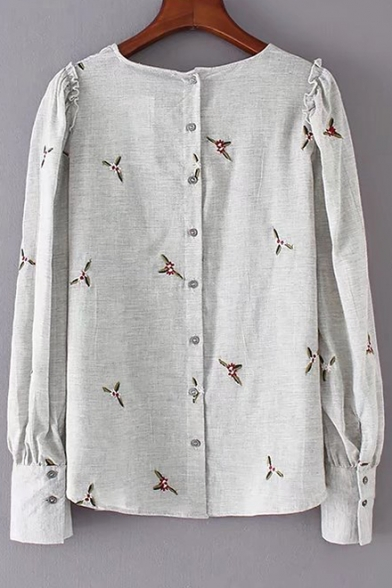 Elegant Floral Embroidered Button Back Gathered Cuffs Frill Shoulder Long Sleeves Blouse