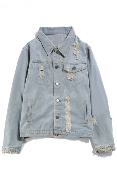 Fashion Retro Ripped Out Lapel Long Sleeve Buttons Down Denim Jacket