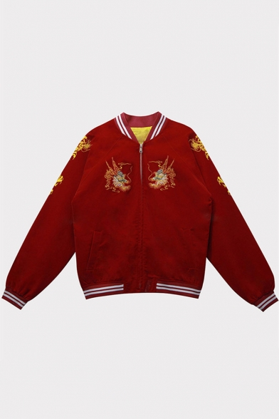 Fashionable Dragon Embroidery Zippered Long Sleeve Baseball Jacket with Pockets