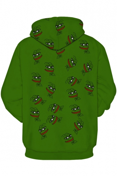 with Sleeves Funny Pullover Hoodie Allover Long Face Pocket Pattern Meme Frog UPwqASz