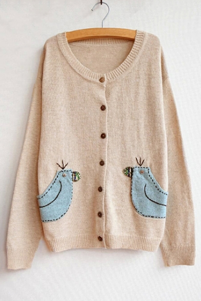 Long Fashion Bird Elbow Cartoon Cardigan Patch Pattern Hot Sleeve YqwHBZB