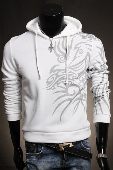 New Fashion Print Drawstring Hood Long Sleeve Casual Hoodie