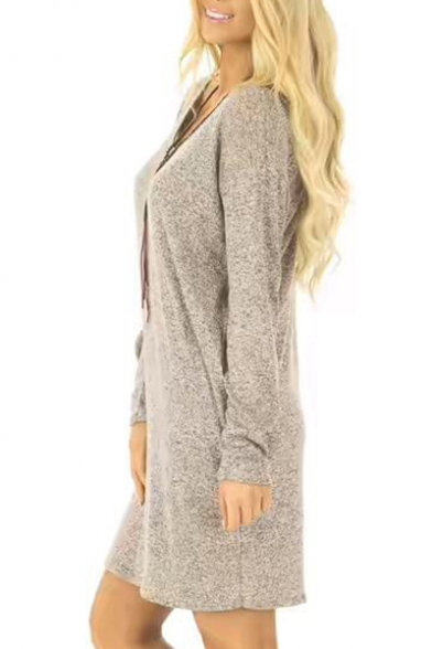 New Fashion Simple Plain Scoop Neck Long Sleeve T-shirt Mini Dress