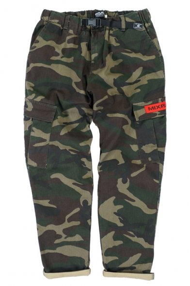 New Stylish Letter Print Leisure Pants with Flap Pocket LC457278 фото