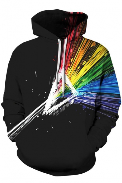 Painting Rainbow Colorful Pattern Long Sleeves Pullover Hoodie with Pocket
